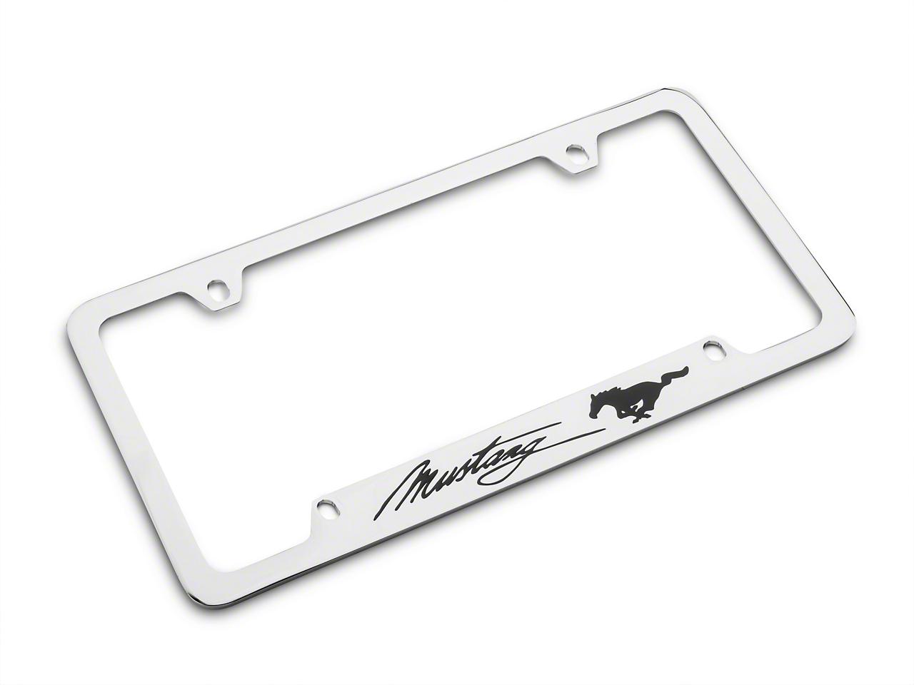 Ford License Plate Frame - Black Pony w/ Black Mustang Script (79-19 All)
