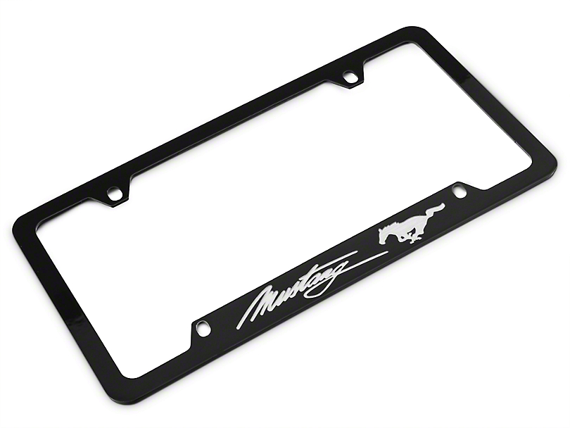 Ford License Plate Frame - Silver Pony w/ Silver Mustang Script (79-18 All)