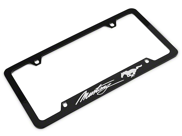 Ford Mustang License Plate Frame - Silver Pony w/ Silver Mustang ...