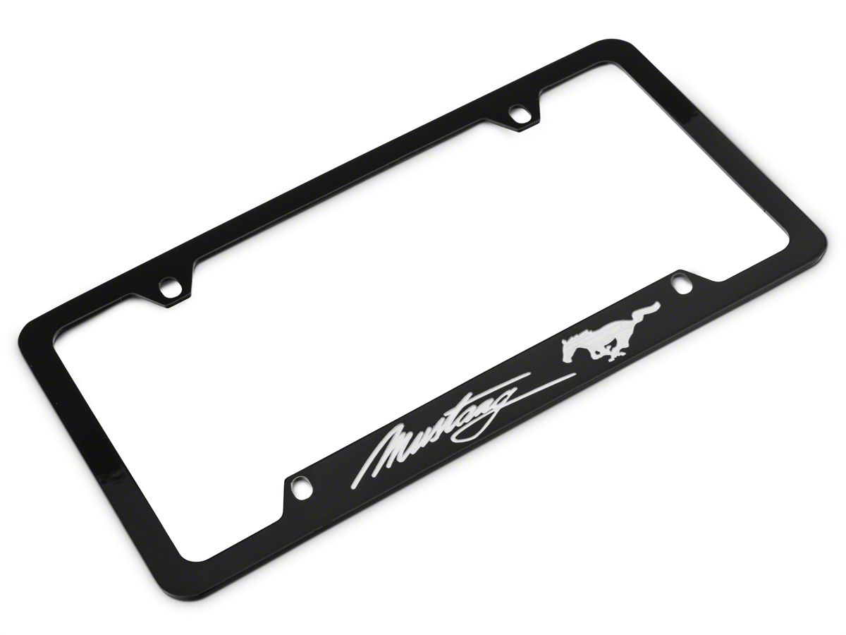 Ford Mustang Horsepower Pony Chrome Zinc Steel License Plate Frame Ca Screws