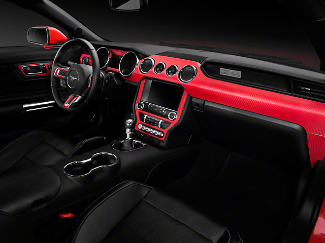 American Muscle Graphics Mustang Red Carbon Fiber Dash Kit