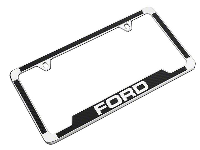 Ford License Plate Frame w/ Carbon Fiber Vinyl Insert (Universal Fitment)