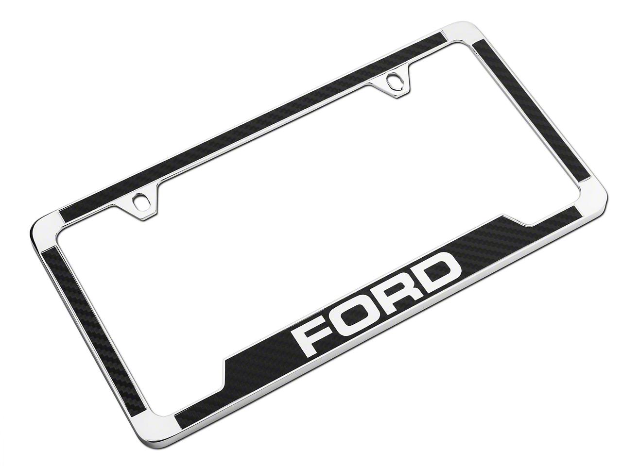 Ford License Plate Frame w/ Carbon Fiber Vinyl Insert (79-19 All)