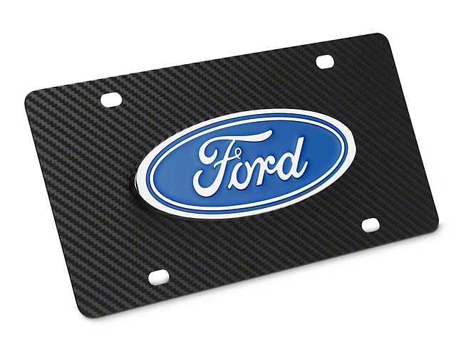 Ford License Plate w/ Carbon Fiber Wrap - Ford Oval (79-18 All)