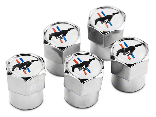Ford Valve Stem Caps with Tri-Bar Pony Logo; Pack of 5 (Universal Fitment)