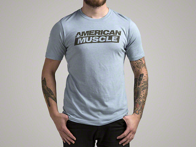 AmericanMuscle Distressed T-Shirt; Blue