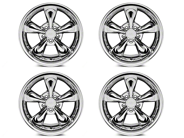Staggered Bullitt Chrome 4 Wheel Kit - 17x9/10.5 (94-04 All)