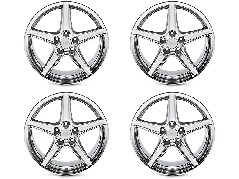 Staggered Saleen Style Chrome 4 Wheel Kit - 18x9/10 (94-04 All)