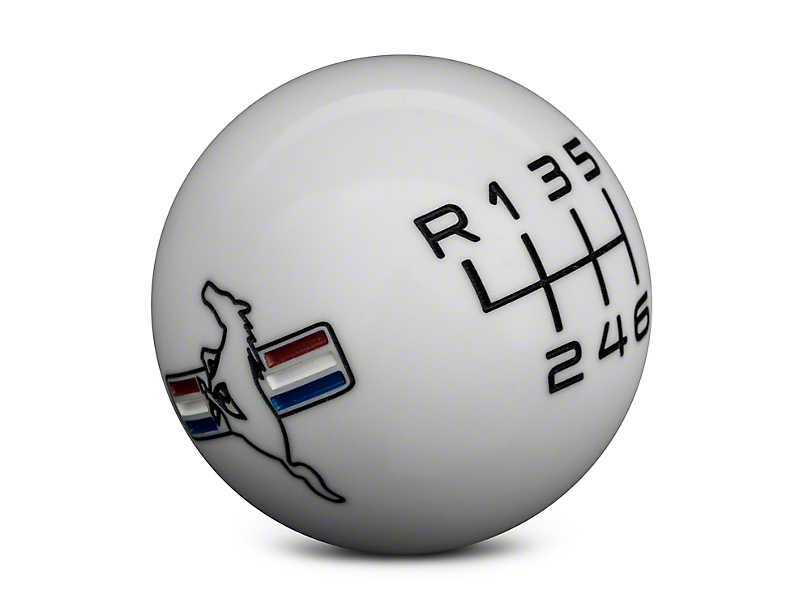 Modern Billet Retro 6-Speed Shift Knob w/Tri-Bar Logo - White (15-19 GT, EcoBoost, V6)
