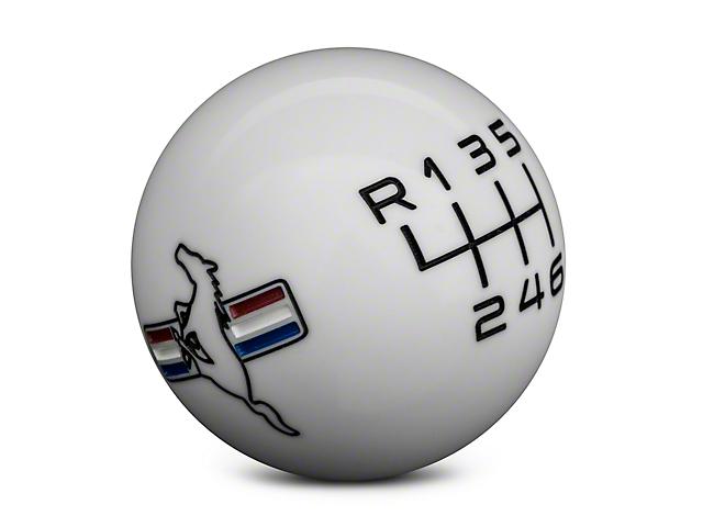 Modern Billet Retro 6-Speed Shift Knob w/Tri-Bar Logo - White (15-17 GT, EcoBoost, V6)