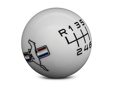 Modern Billet Retro 6-Speed Shift Knob w/Tri-Bar Logo - White (15-17 GT, EcoBoost, V6)