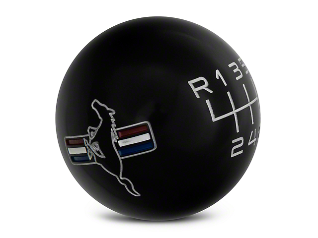 Modern Billet Retro 6-Speed Shift Knob w/Tri-Bar Logo - Black (15-18 GT, EcoBoost, V6)