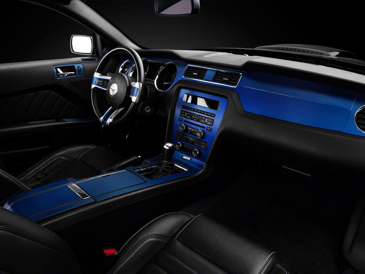 Sec10 Mustang Dash Overlay Kit Blue Carbon Fiber 390788 10 14 All
