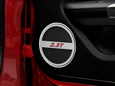 Brushed Lower Door Speaker Trim w/ 2.3T Logo - Red (15-19 EcoBoost)