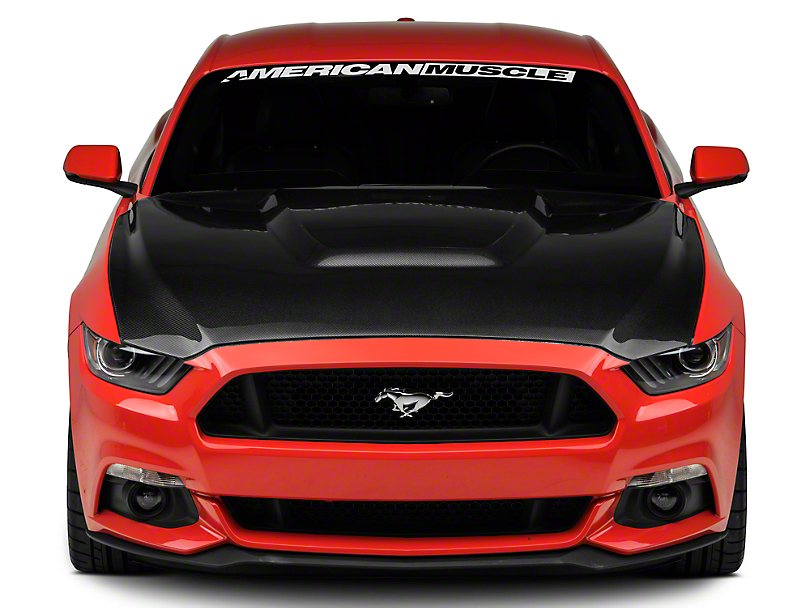 Anderson Composites Type-GR GT350 Style Hood - Double Sided Carbon Fiber (15-17 GT, EcoBoost, V6)