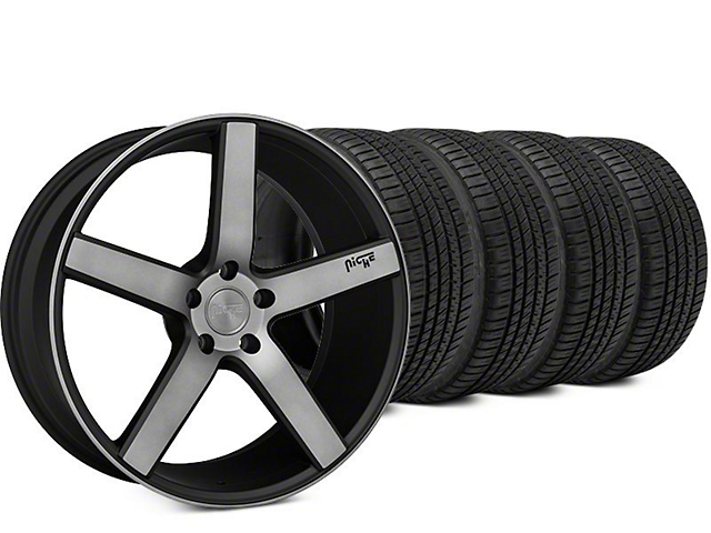 Niche Milan Matte Black Machined Wheel & Michelin Pilot Sport A/S 3+ Tire Kit - 20x8.5 (15-17 All)