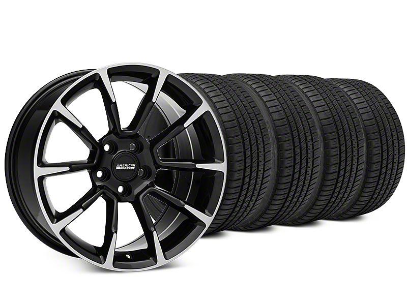 11/12 GT/CS Style Black Machined Wheel & Michelin Pilot Sport A/S 3+ Tire Kit - 19x8.5 (15-18 All)