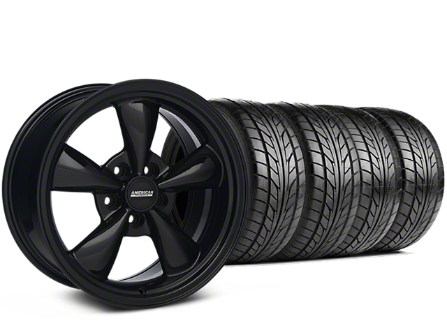 Staggered Bullitt Solid Black Wheel & NITTO G2 Tire Kit - 17x9/10.5 (99-04 All)
