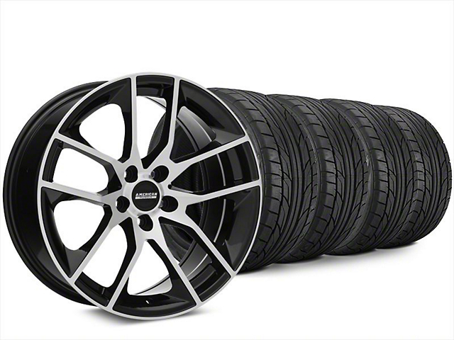 Magnetic Style Black Machined Wheel & NITTO NT555 G2 Tire Kit - 20x8.5 (15-19 GT, EcoBoost, V6)