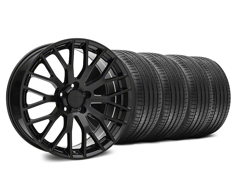 Performance Pack Style Black Wheel and Sumitomo Maximum Performance HTR Z5 Tire Kit; 20x8.5 (15-20 GT, EcoBoost, V6)
