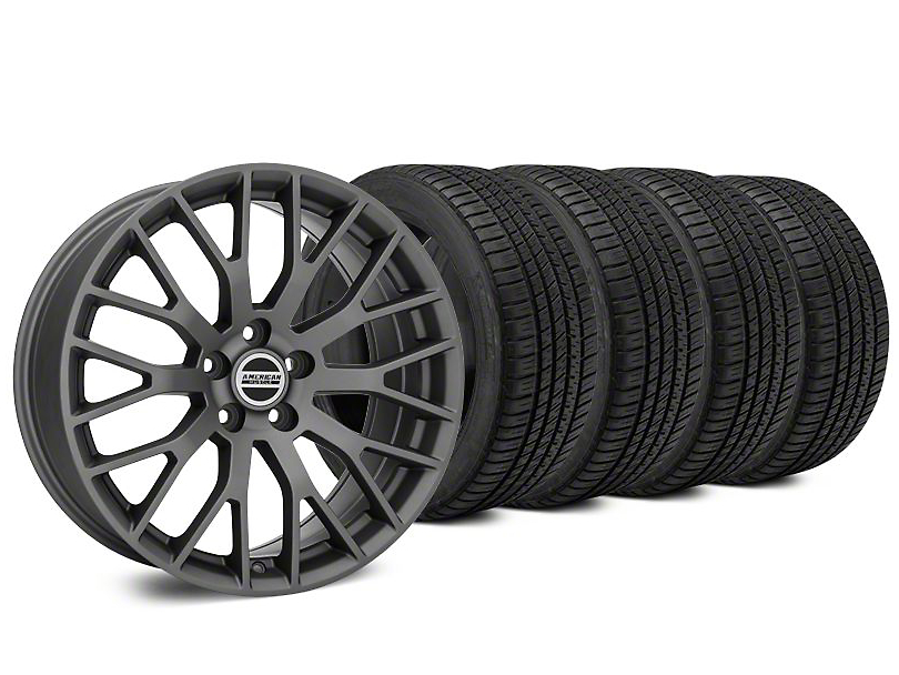 Performance Charcoal Wheel & Michelin Pilot Sport A/S 3+ Tire Kit - 19x8.5 (15-18 GT, EcoBoost, V6)
