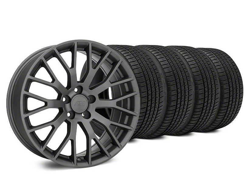Performance Pack Style Charcoal Wheel & Michelin Pilot Sport A/S 3+ Tire Kit - 20x8.5 (15-19 GT, EcoBoost, V6)