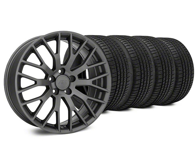 Performance Pack Style Charcoal Wheel & Michelin Pilot Sport A/S 3+ Tire Kit - 20x8.5 (15-18 GT, EcoBoost, V6)