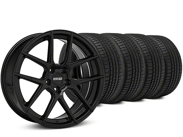 MMD Zeven Black Wheel & Michelin Pilot Sport A/S 3+ Tire Kit - 19x8.5 (15-20 GT, EcoBoost, V6)