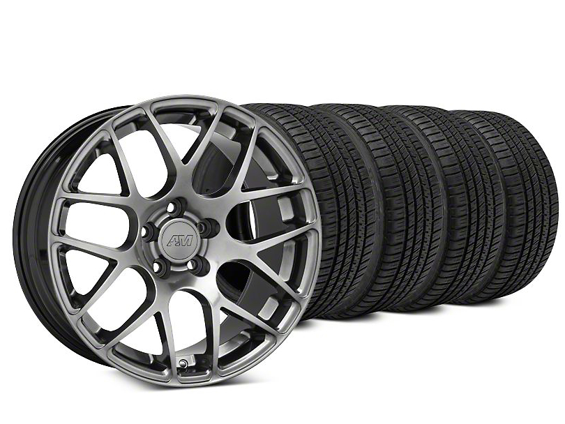 AMR Dark Stainless Wheel & Michelin Pilot Sport A/S 3+ Tire Kit - 19x8.5 (15-18 GT, EcoBoost, V6)