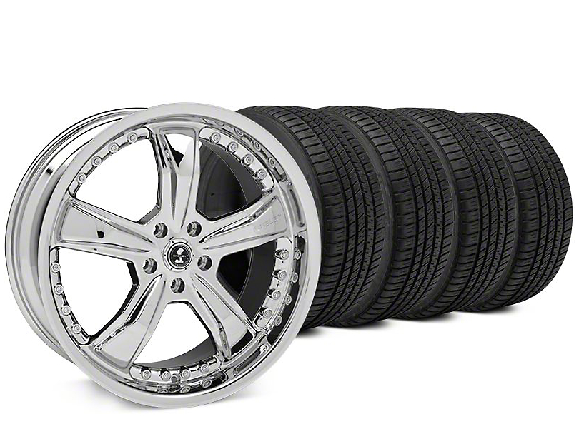 Shelby Razor Chrome Wheel & Michelin Pilot Sport A/S 3+ Tire Kit - 20x9 (15-17 All)