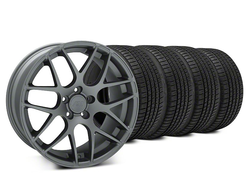 AMR Charcoal Wheel & Michelin Pilot Sport A/S 3+ Tire Kit - 19x8.5 (15-19 GT, EcoBoost, V6)