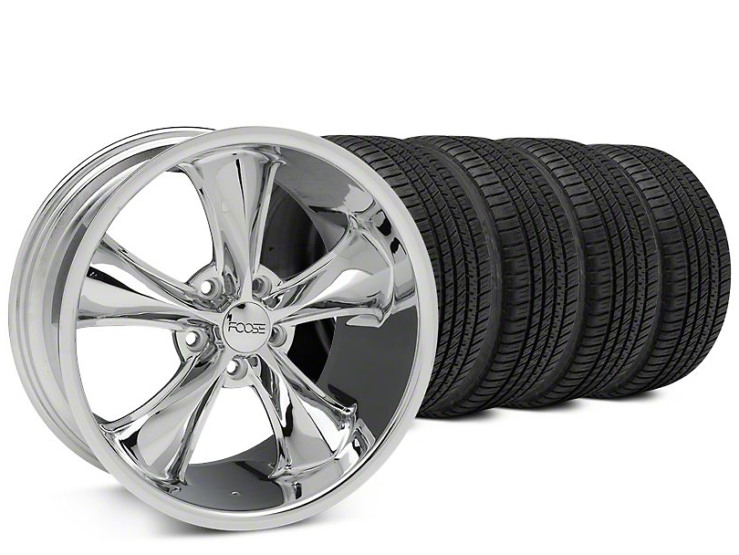 Foose Legend Chrome Wheel & Michelin Pilot Sport A/S 3+ Tire Kit - 20x8.5 (15-17 EcoBoost, V6)