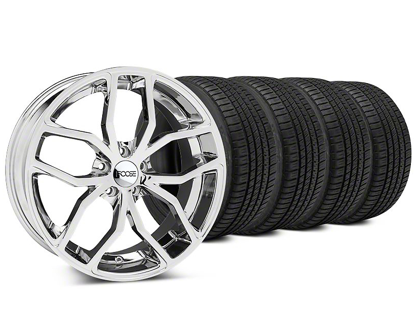Foose Outcast Chrome Wheel & Michelin Pilot Sport A/S 3+ Tire Kit - 20x8.5 (15-17 All)