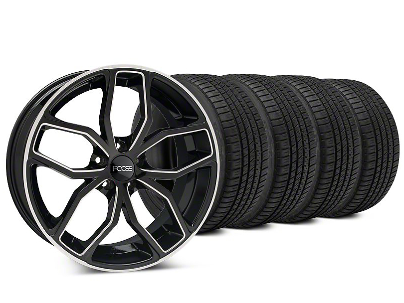 Foose Outcast Black Machined Wheel & Michelin Pilot Sport A/S 3+ Tire Kit - 20x8.5 (15-17 All)