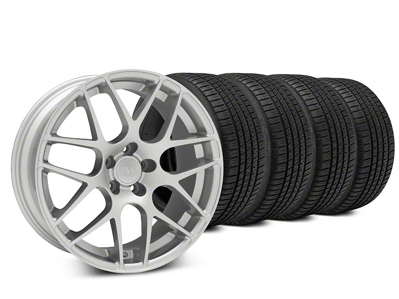 AMR Silver Wheel & Michelin Pilot Sport A/S 3+ Tire Kit - 19x8.5 (15-17 All)