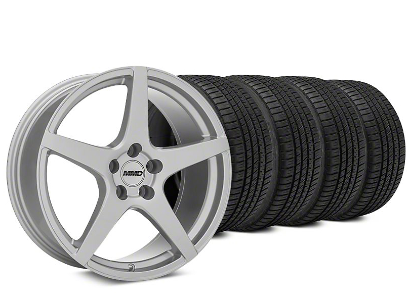 MMD Sinn Silver Wheel & Michelin Pilot Sport A/S 3+ Tire Kit - 19x8.5 (15-18 All)