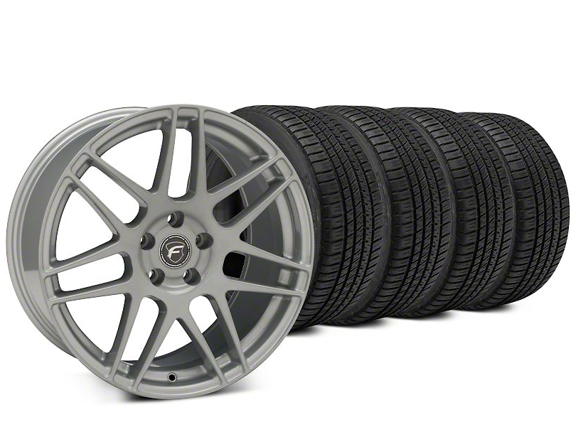 Forgestar F14 Silver Wheel & Michelin Pilot Sport A/S 3+ Tire Kit - 19x9.5 (15-19 All)