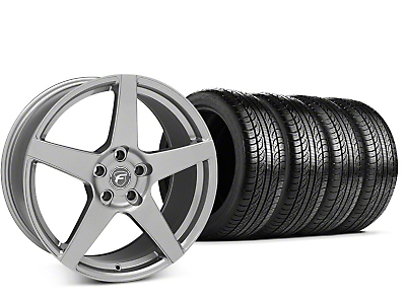 Forgestar CF5 Gunmetal Wheel & Pirelli P-Zero Nero Tire Kit - 19x9.5 (15-18 GT, EcoBoost, V6)