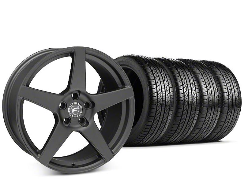 mustang forgestar cf5 matte black wheel pirelli p zero nero tire kit 19x9 5 15 19 gt. Black Bedroom Furniture Sets. Home Design Ideas