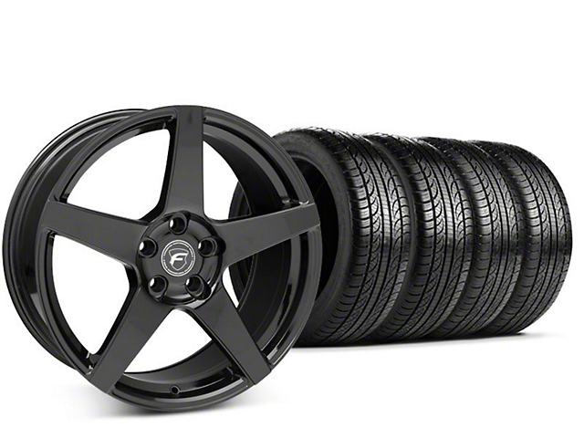 Forgestar CF5 Piano Black Wheel & Pirelli P-Zero Nero Tire Kit - 19x9.5 (15-17 All)