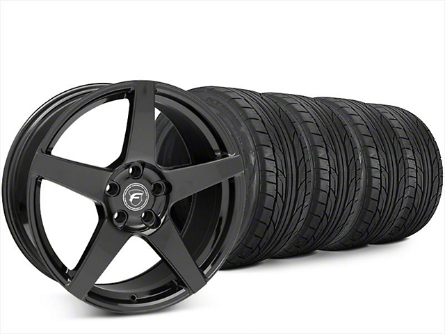 Forgestar CF5 Piano Black Wheel & NITTO NT555 G2 Tire Kit - 20x9.5 (15-20 EcoBoost, V6)
