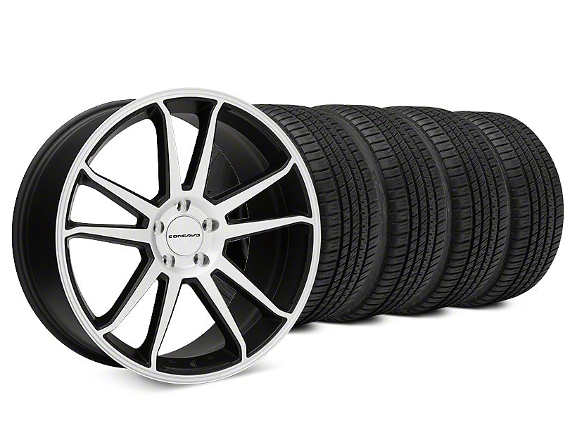 Concavo CW-S5 Matte Black Machined Wheel & Michelin Pilot Sport A/S 3+ Tire Kit - 20x9 (15-18 All)