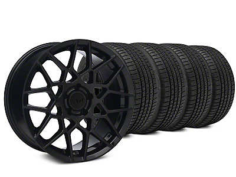 2013 GT500 Style Gloss Black Wheel & Michelin Pilot Sport A/S 3+ Tire Kit - 19x8.5 (15-17 GT, EcoBoost, V6)