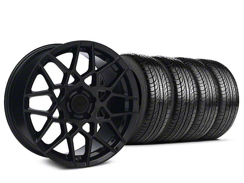 2013 GT500 Style Gloss Black Wheel & Pirelli P-Zero Nero Tire Kit - 19x8.5 (15-17 GT, EcoBoost, V6)