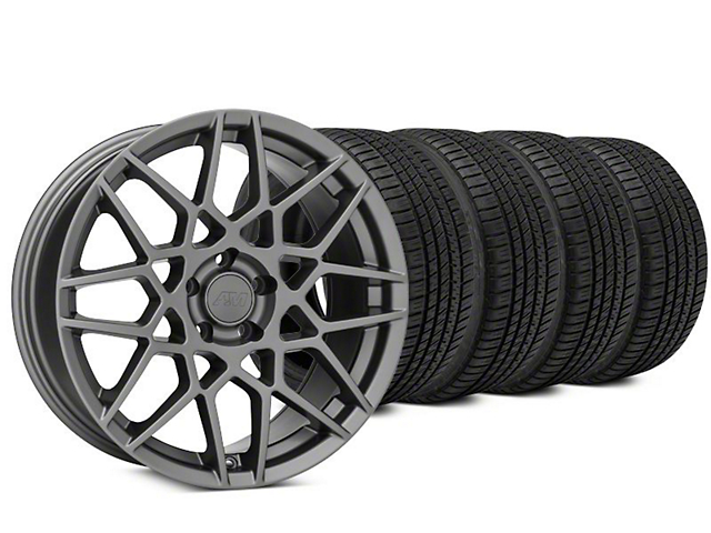 2013 GT500 Style Charcoal Wheel & Michelin Pilot Sport A/S 3+ Tire Kit - 19x8.5 (15-17 GT, EcoBoost, V6)
