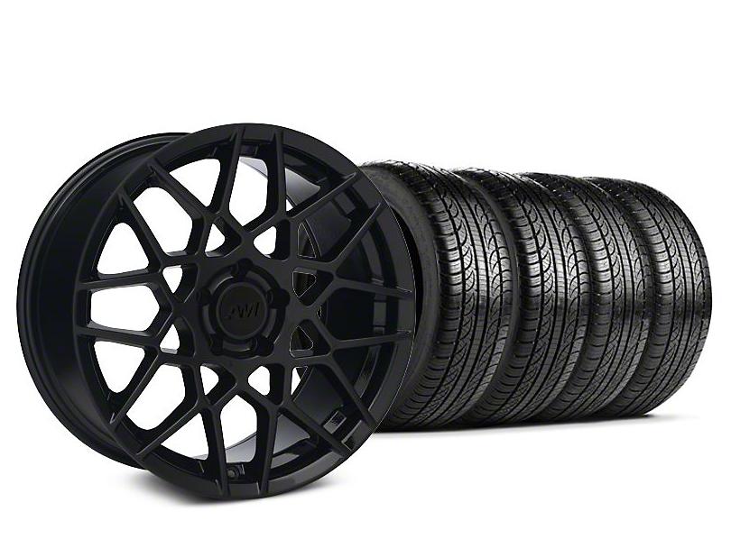 2013 GT500 Style Gloss Black Wheel & Pirelli P-Zero Nero Tire Kit - 19x9.5 (15-18 GT, EcoBoost, V6)