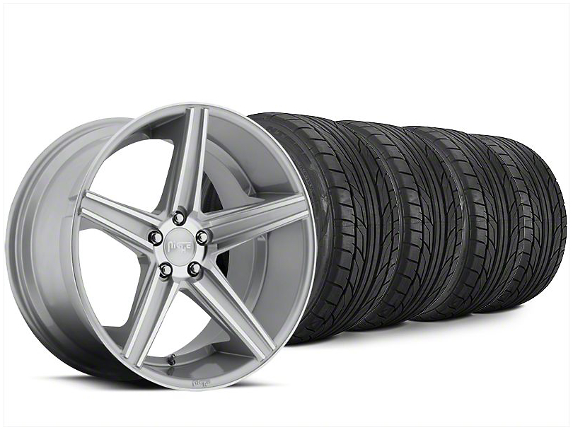 Staggered Niche Apex Machined Silver Wheel & NITTO NT555 G2 Tire Kit - 20x8.5/10 (15-17 All)