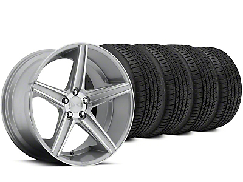 Staggered Niche Apex Machined Silver Wheel & Michelin Pilot Sport A/S 3+ Tire Kit - 20x8.5/10 (15-18 All)