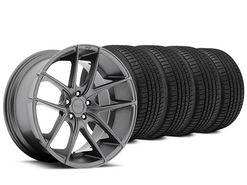 Staggered Niche Targa Matte Anthracite Wheel & Michelin Pilot Sport A/S 3+ Tire Kit - 19x8.5/9.5 (15-17 All)