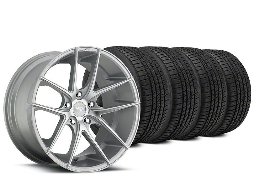 Staggered Niche Targa Matte Silver Wheel & Michelin Pilot Sport A/S 3+ Tire Kit - 19x8.5/9.5 (15-19 All)